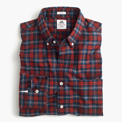 Slim Thomas Mason® for J.Crew flannel shirt in red plaid