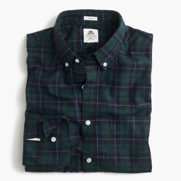 Slim Thomas Mason® for J.Crew flannel shirt in deep alpine tartan