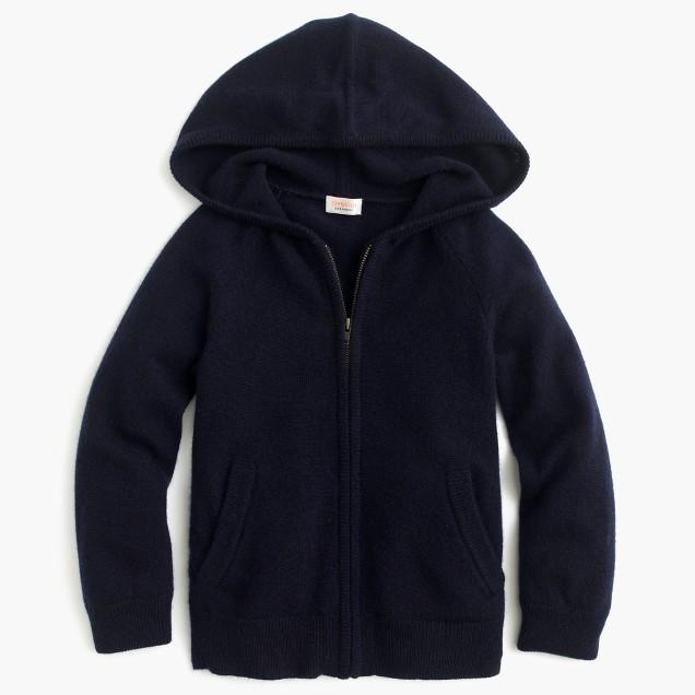 Kids' Italian cashmere zip-front hoodie