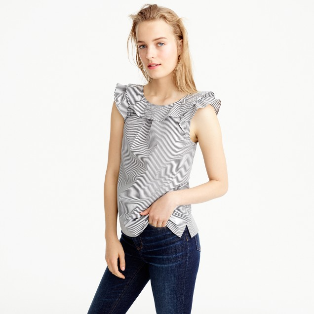 Petite ruffle top in shirting stripes