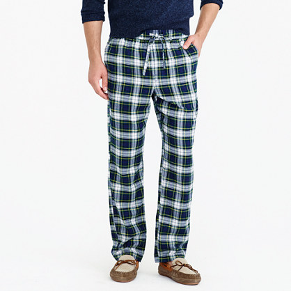 Flannel pajama pant in green plaid
