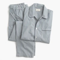 Cotton poplin pajama set in blue and green stripe