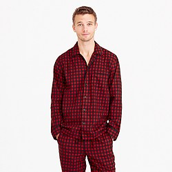 Heathered cotton flannel pajama set in buffalo check