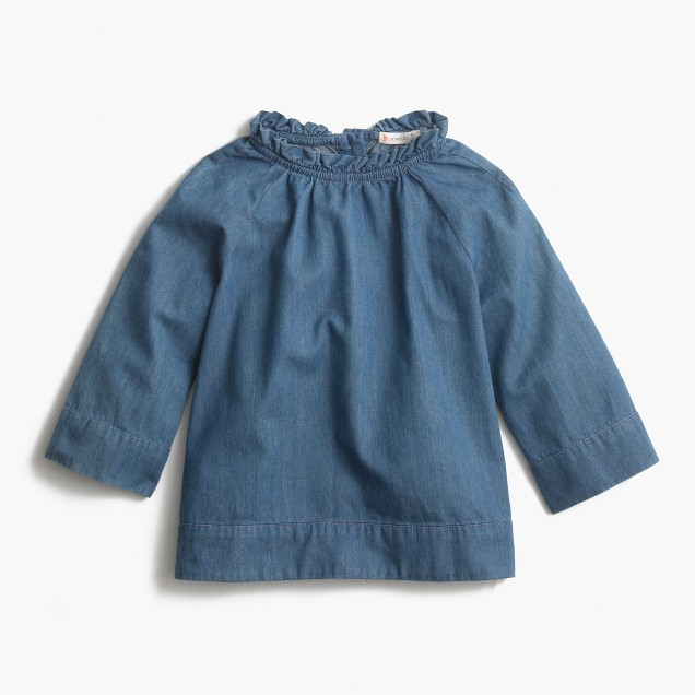 Girls' indigo chambray ruffle-neck top