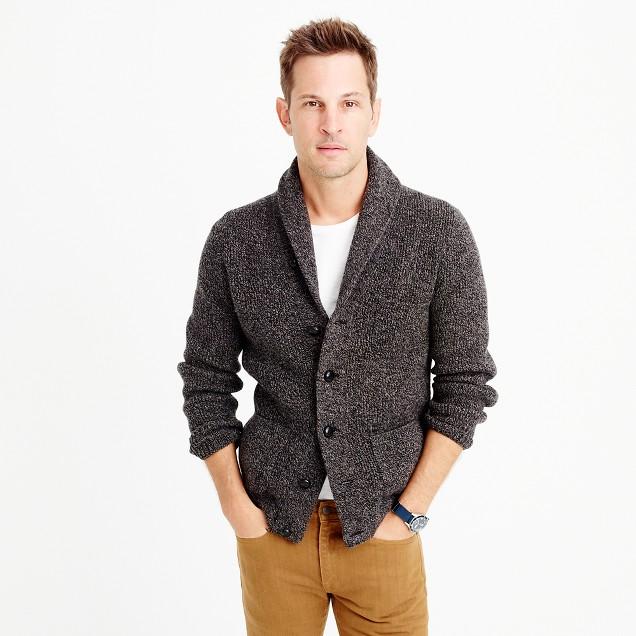 Marled lambswool cardigan sweater