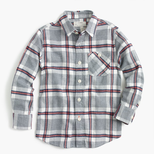 Kids' brushed twill shirt in heather plaid
