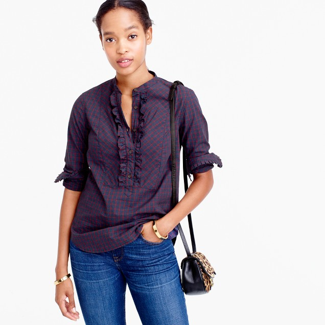 Tall ruffle popover in mini windowpane