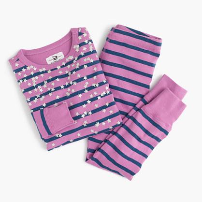 Girls' pajama set in stripes and stars
