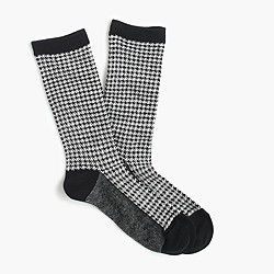 Trouser socks in houndstooth print