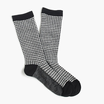 Trouser socks in houndstooth print
