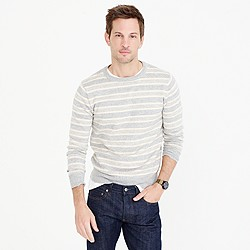 Textured cotton crewneck sweater in multi-stripe