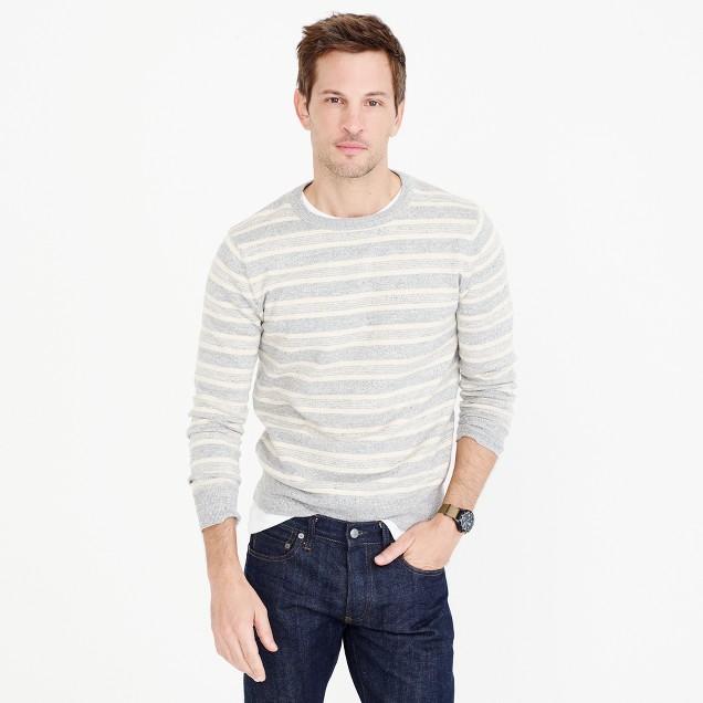 Textured cotton crewneck sweater in multi-stripe