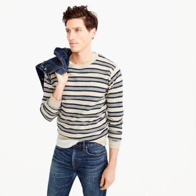 Rugged cotton crewneck sweater in multistripe