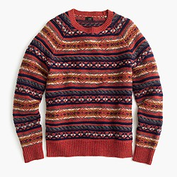 Lambswool Fair Isle sweater in heather rust