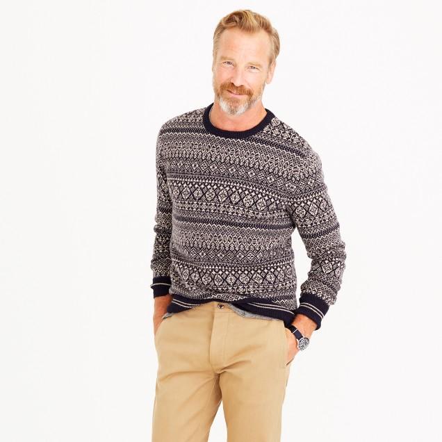 Lambswool mixed Fair Isle crewneck sweater