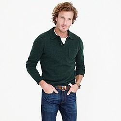 Lambswool long-sleeve polo sweater