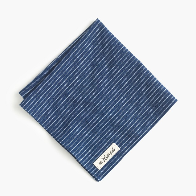The Hill-side® selvedge chambray pocket square in double stripe