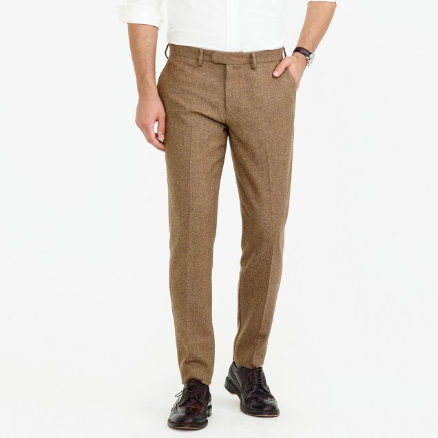 Bowery slim pant in crosshatched wool