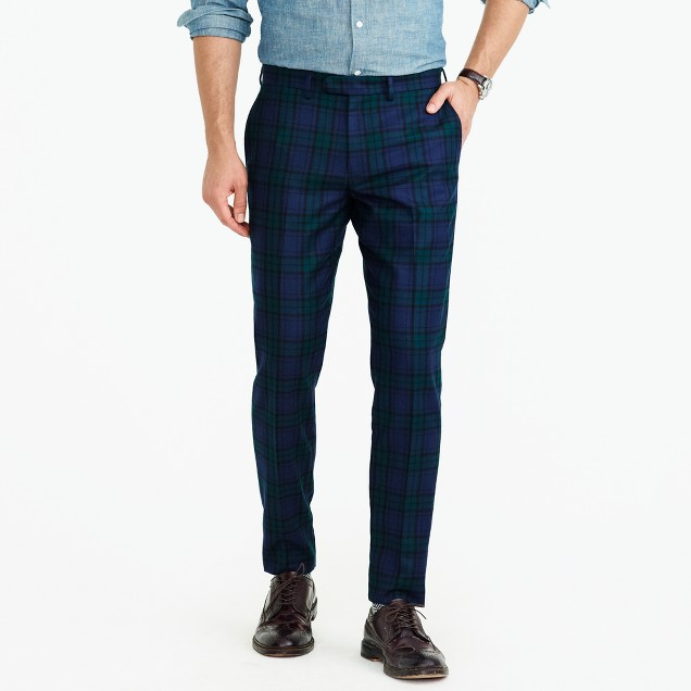 Bowery slim pant in green plaid English wool