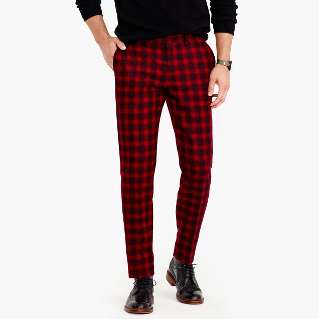 Bowery slim pant in burgundy wool