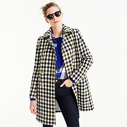 Petite double-breasted coat in oxford check