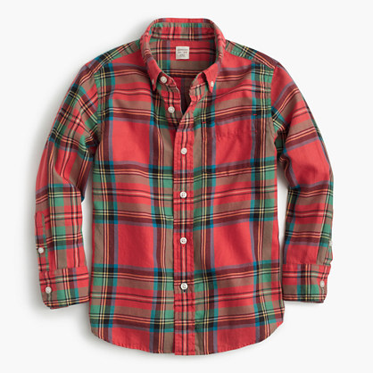 Kids' flannel shirt in faded plaid