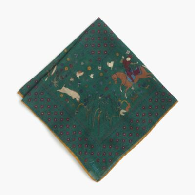 Drake's® wool-silk pocket square in horse print