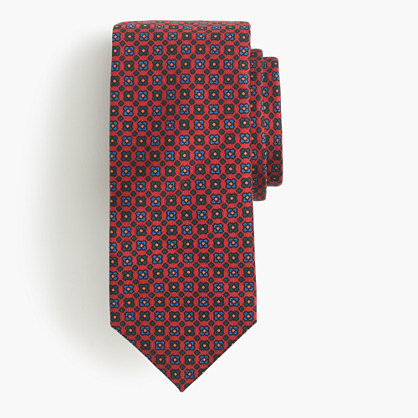 Drake's® silk tie in red geometric print