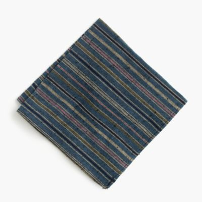 Kiriko™ pocket square in teal stripe