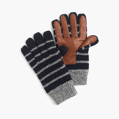 Striped wool smartphone gloves