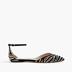 Sadie ankle-strap flats in zebra calf hair