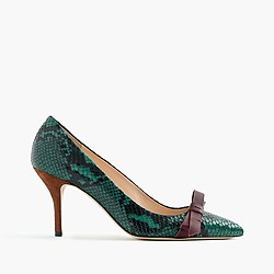 Colette bow pumps in snakeskin-printed leather