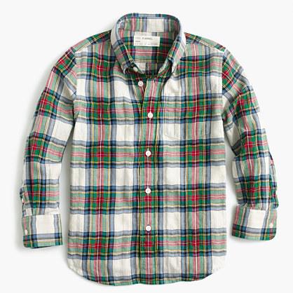 Kids' lightweight flannel shirt in festive plaid