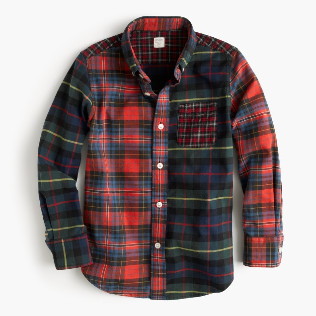 Kids' oxford cotton shirt in mash-up plaid