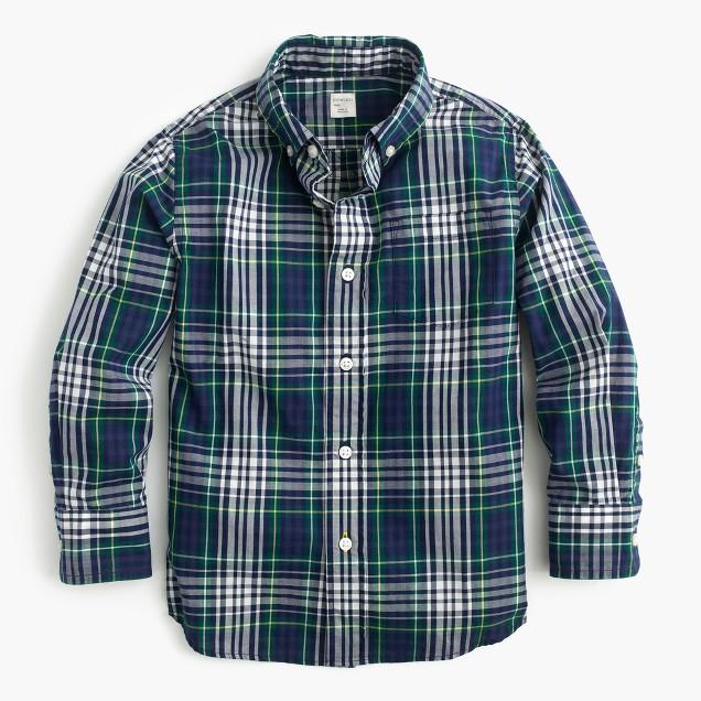 Kids' Secret Wash shirt in classic blue plaid