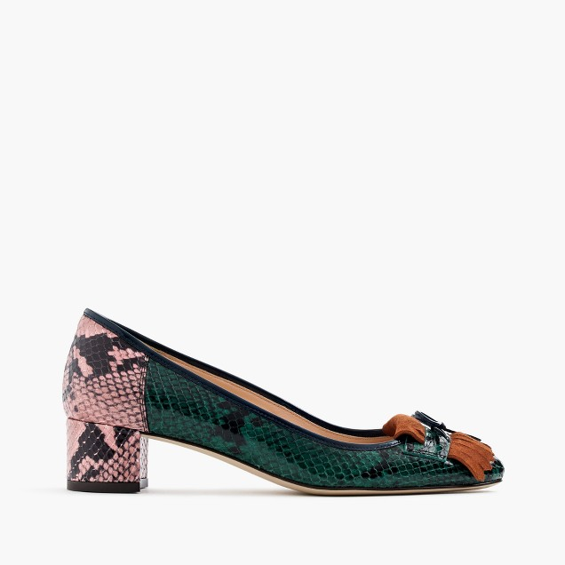Snakeskin-printed leather heels with fringe