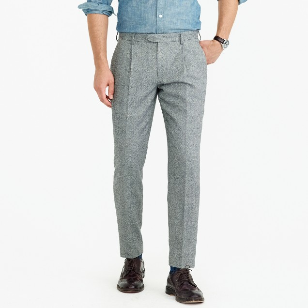Pleated Bowery slim pant in basketweave wool
