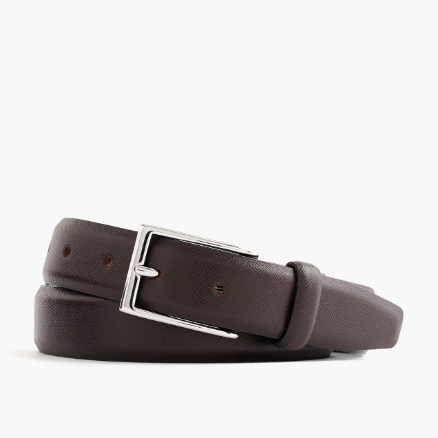 Textured leather dress belt