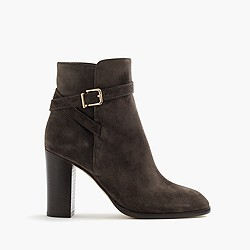 Suede ankle boots with wraparound buckle