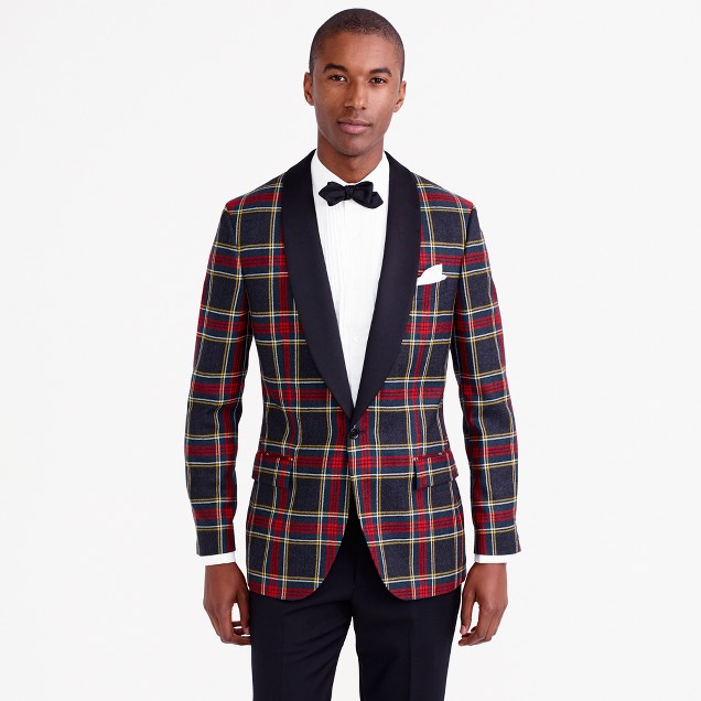 Ludlow shawl-collar tuxedo jacket in plaid Italian wool