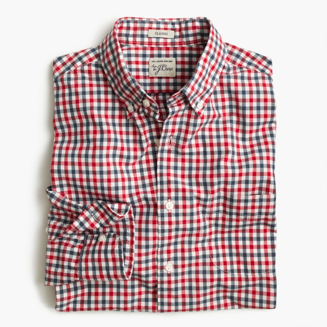 Slim Secret Wash shirt in red and blue check