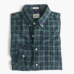 Slim Secret Wash shirt in green plaid heather poplin