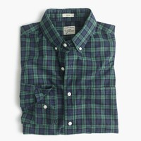 Secret Wash shirt in green plaid heather poplin