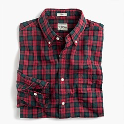 Secret Wash shirt in red-and-green tartan heather poplin
