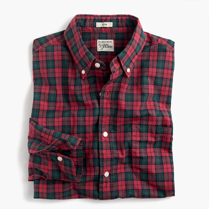 Tall Secret Wash shirt in red-and-green tartan heather poplin