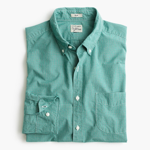 Slim Secret Wash shirt in green micro-gingham
