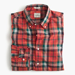 Tall Secret Wash shirt in heather poplin red plaid