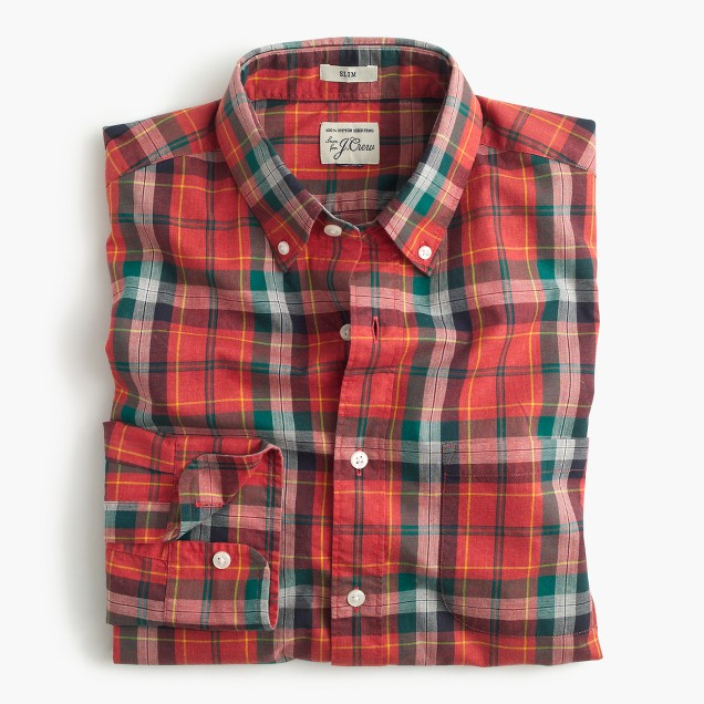 Slim Secret Wash shirt in heather poplin red plaid