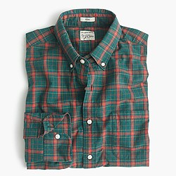 Slim Secret Wash shirt in heather poplin green plaid