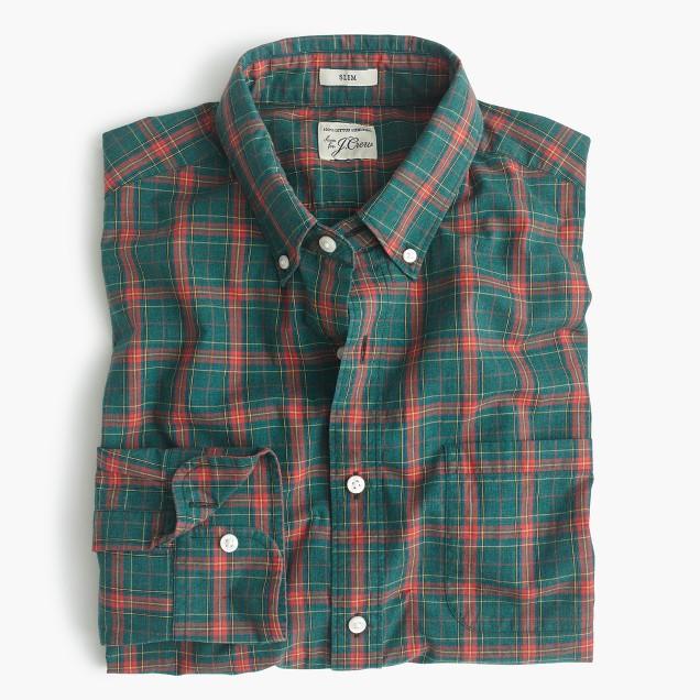 Slim Secret Wash shirt in heather poplin green plaid